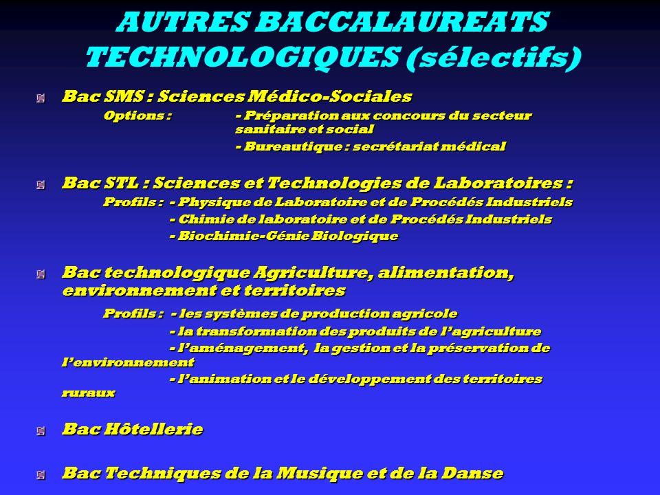 AUTRES BACCALAUREATS TECHNOLOGIQUES (sélectifs)