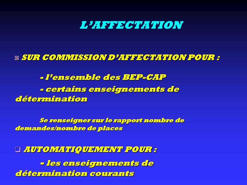 L'AFFECTATION AUTOMATIQUEMENT POUR :