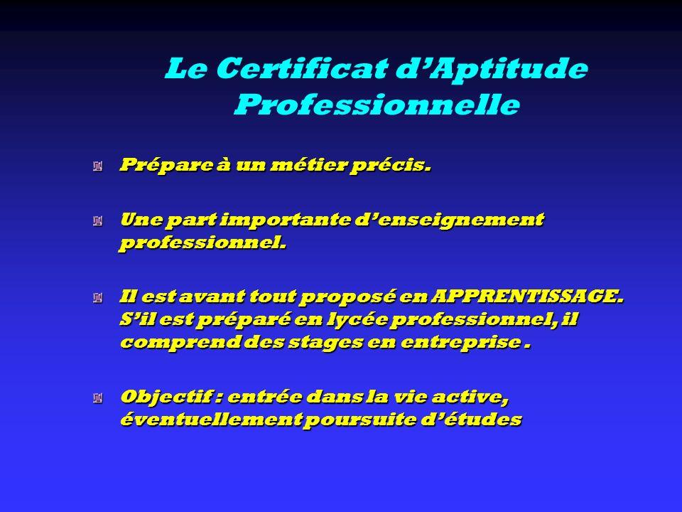Le Certificat d'Aptitude Professionnelle