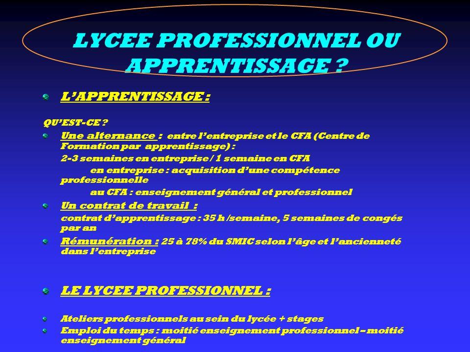 LYCEE PROFESSIONNEL OU APPRENTISSAGE