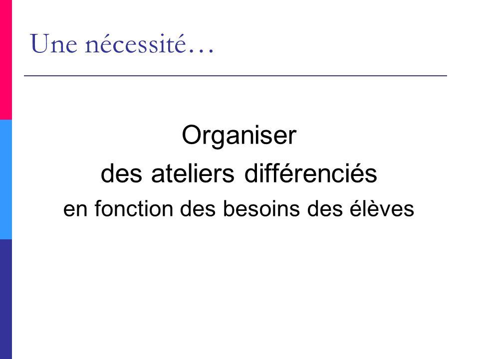 Une nécessité… Organiser des ateliers différenciés