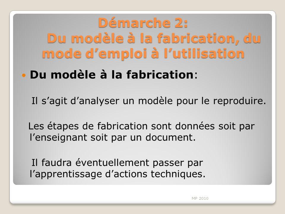 Démarche 2: Du modèle à la fabrication, du mode d'emploi à l'utilisation