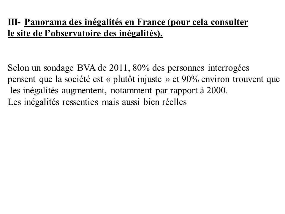III- Panorama des inégalités en France (pour cela consulter