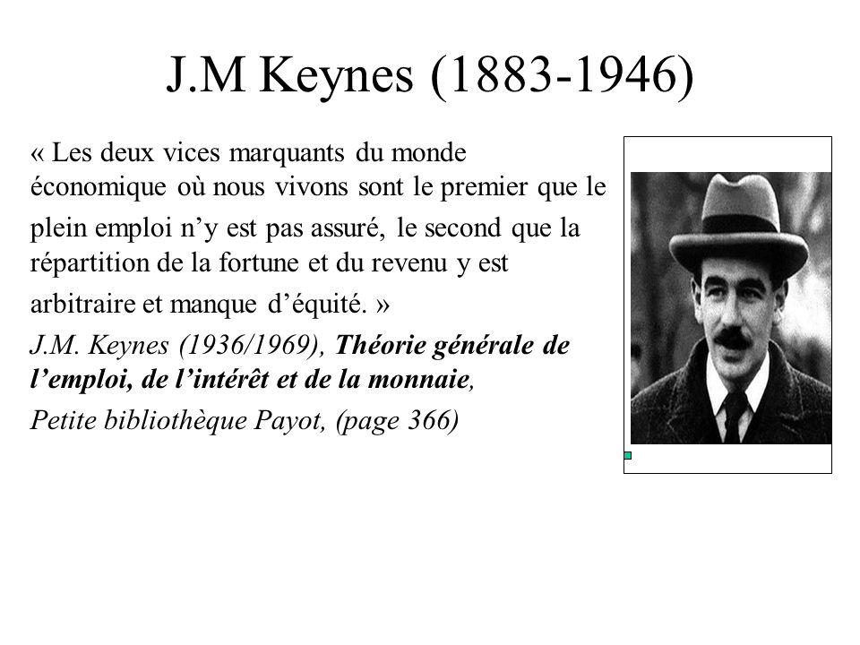 J.M Keynes (1883-1946) « Les deux vices marquants du monde économique où nous vivons sont le premier que le.