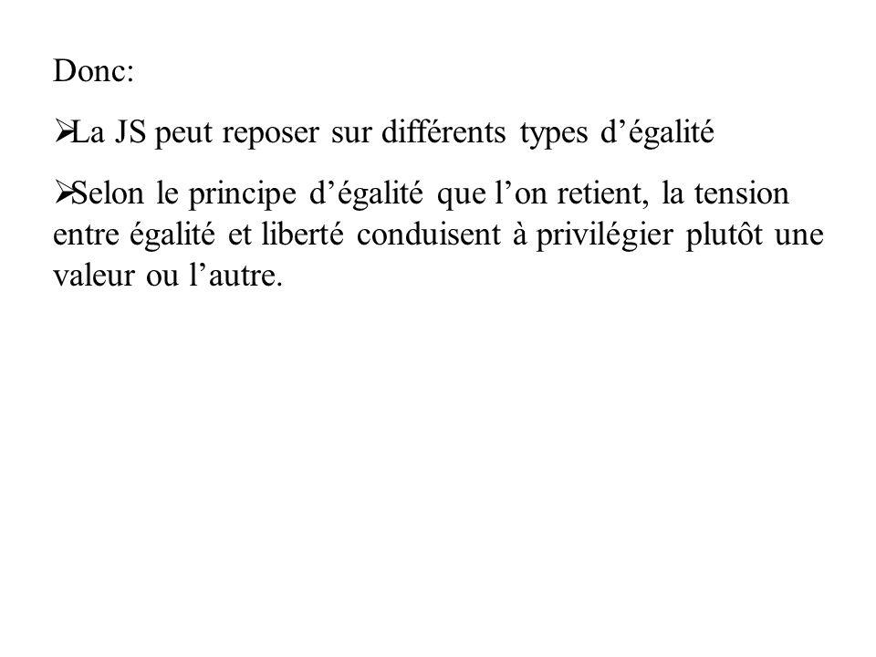 Donc: La JS peut reposer sur différents types d'égalité.