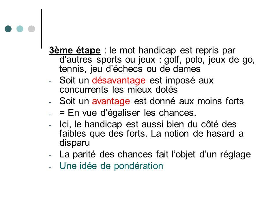3ème étape : le mot handicap est repris par d'autres sports ou jeux : golf, polo, jeux de go, tennis, jeu d'échecs ou de dames
