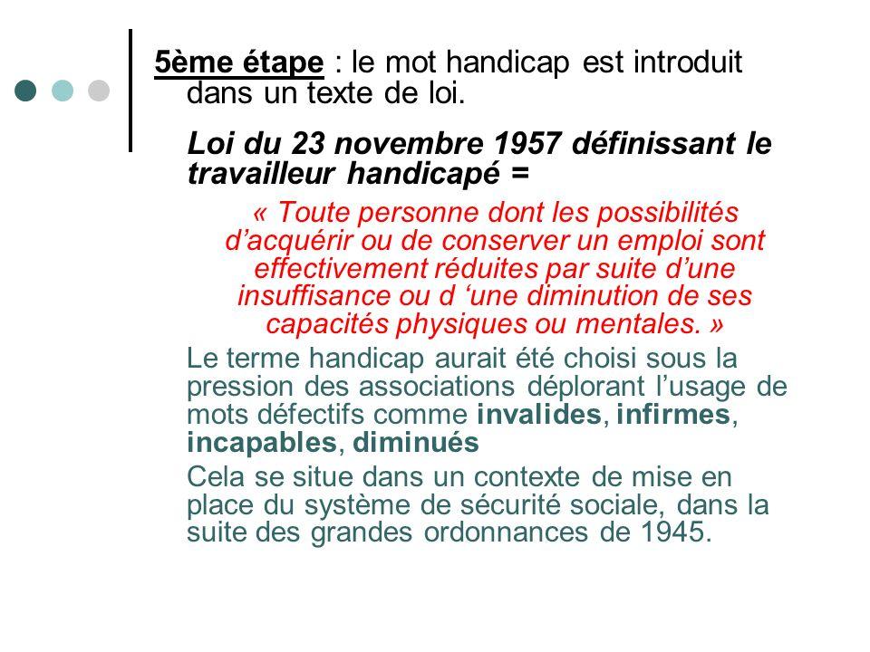5ème étape : le mot handicap est introduit dans un texte de loi.