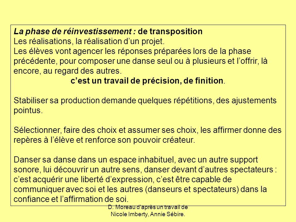 La phase de réinvestissement : de transposition