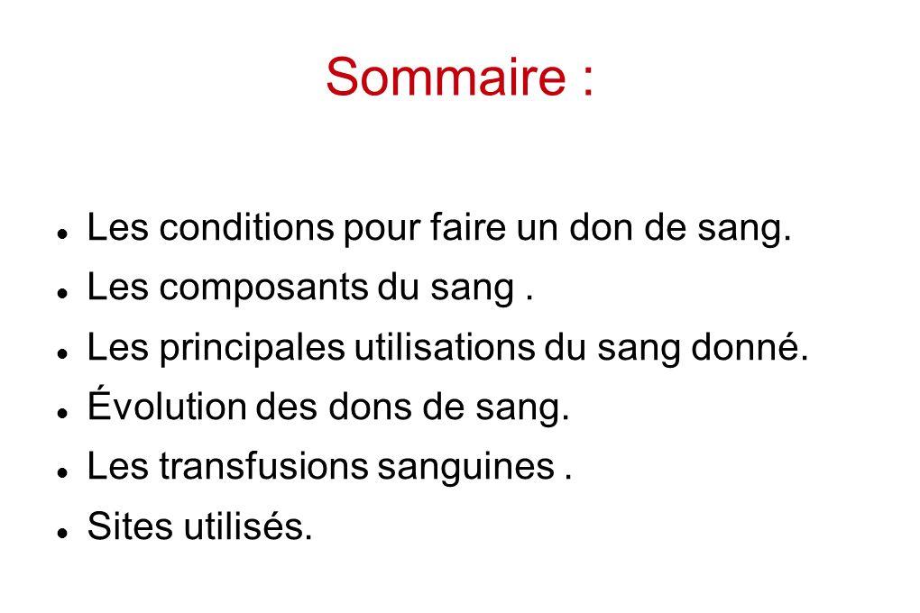Sommaire : Les conditions pour faire un don de sang.