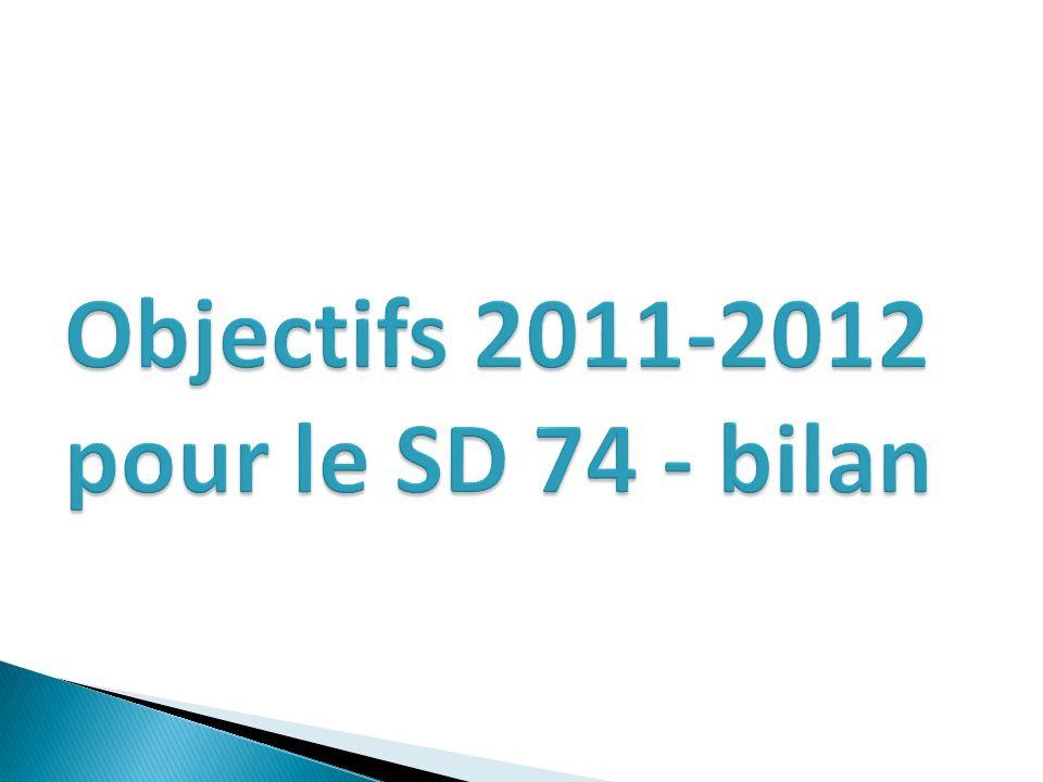 Objectifs 2011-2012 pour le SD 74 - bilan
