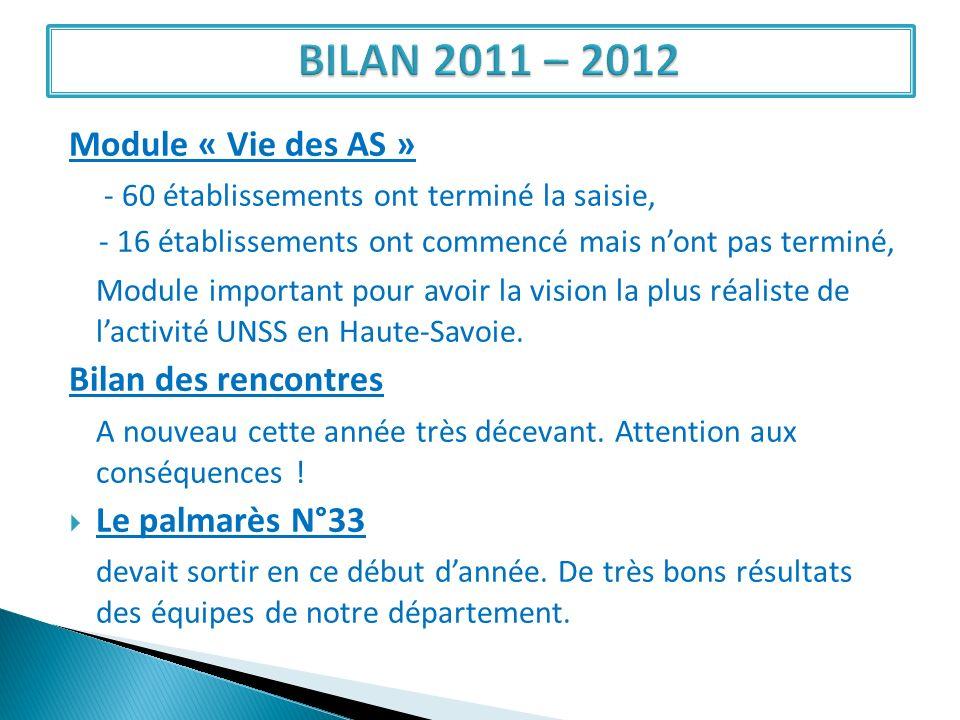BILAN 2011 – 2012 Module « Vie des AS »