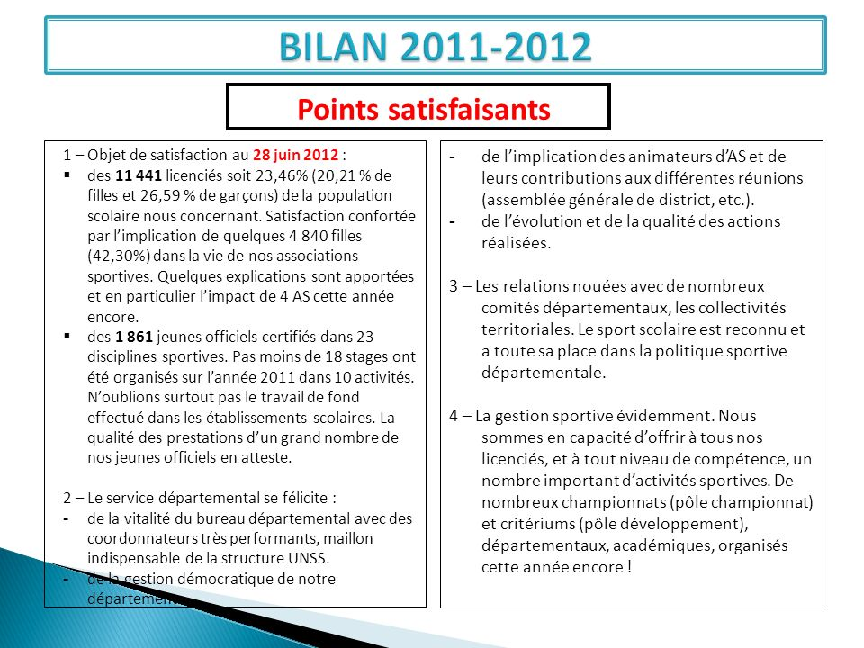 BILAN 2011-2012 Points satisfaisants