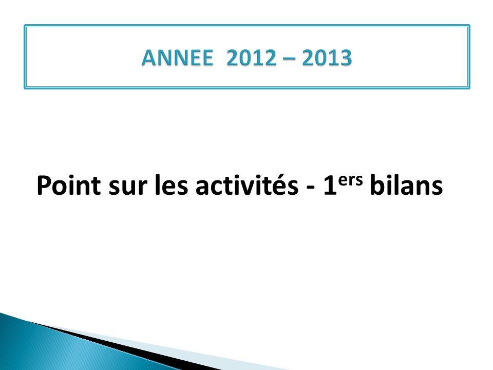 Point sur les activités - 1ers bilans