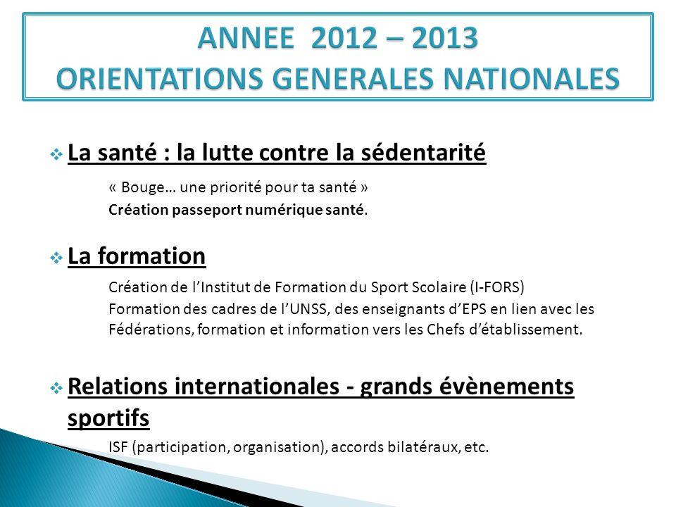 ANNEE 2012 – 2013 ORIENTATIONS GENERALES NATIONALES