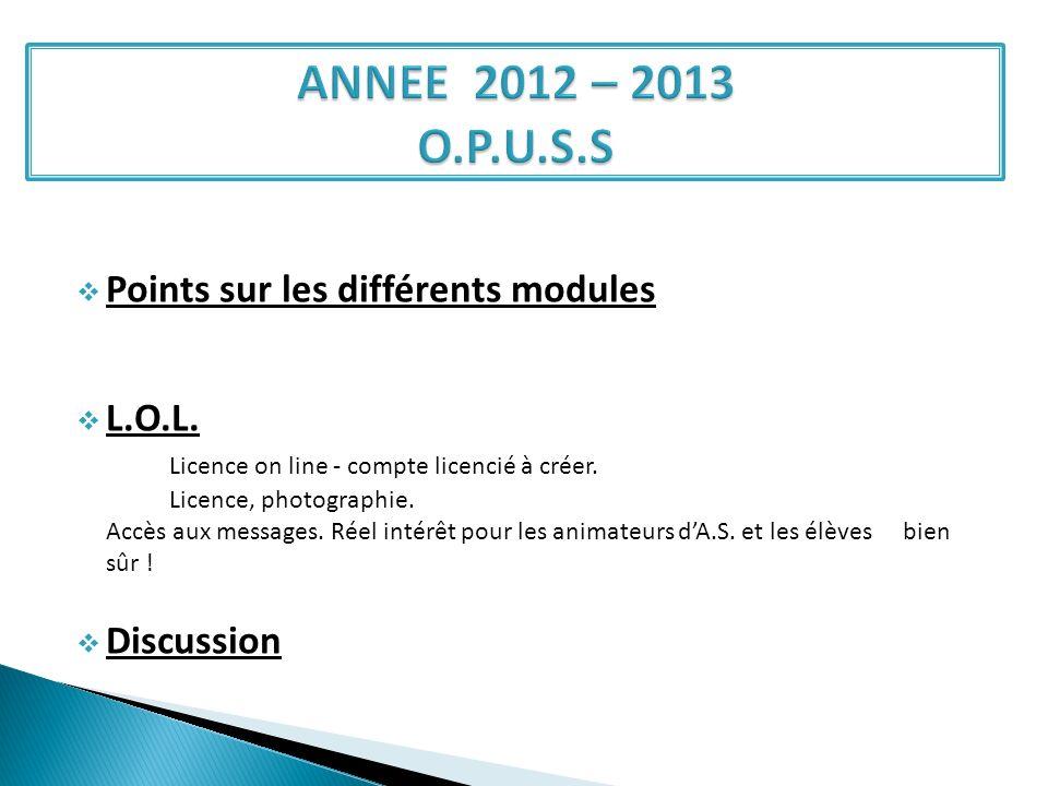 ANNEE 2012 – 2013 O.P.U.S.S Points sur les différents modules