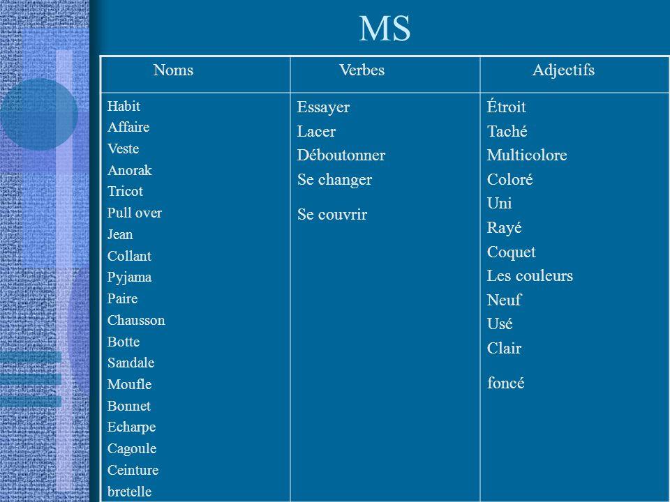 MS Noms Verbes Adjectifs Essayer Lacer Déboutonner Se changer