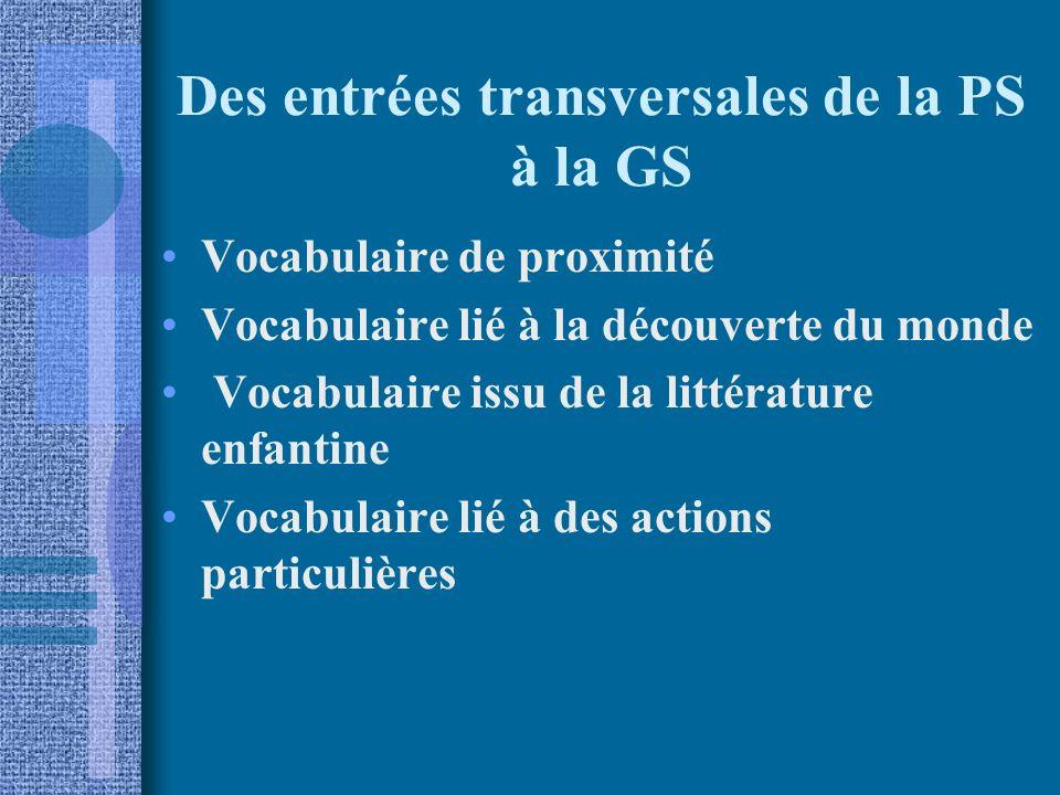 Des entrées transversales de la PS à la GS