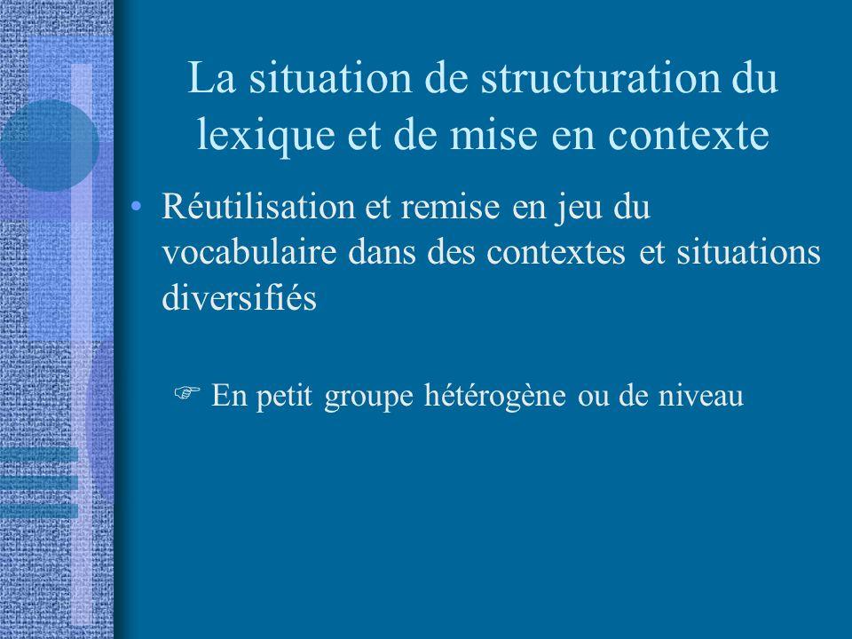 La situation de structuration du lexique et de mise en contexte
