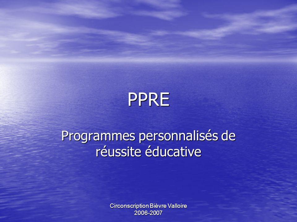 Programmes personnalisés de réussite éducative