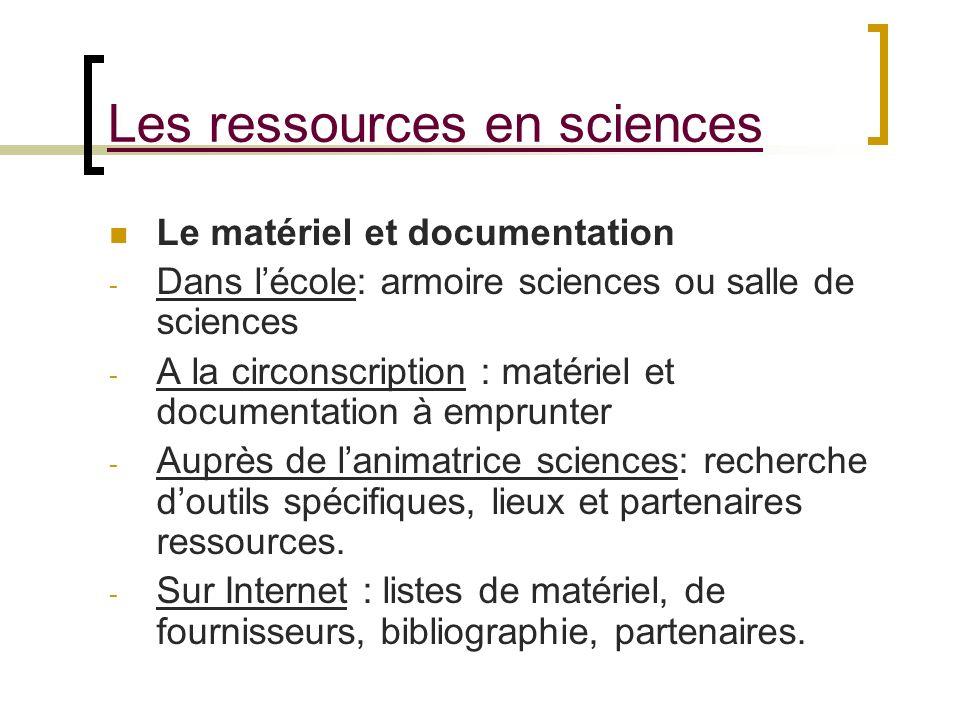 Les ressources en sciences