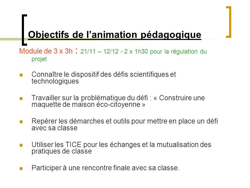 Objectifs de l'animation pédagogique