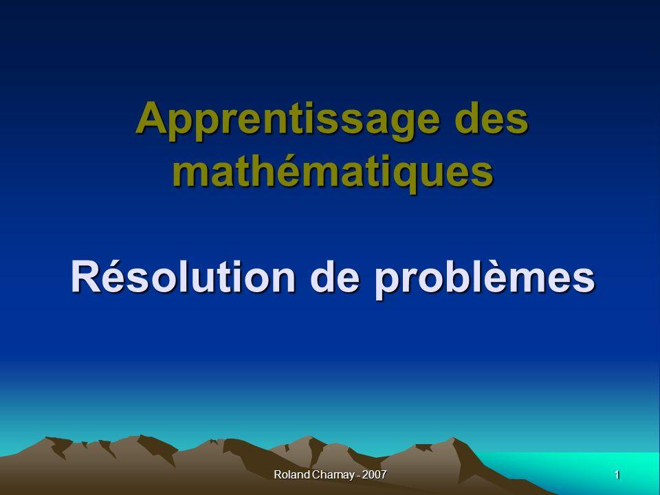 Apprentissage des mathématiques Résolution de problèmes