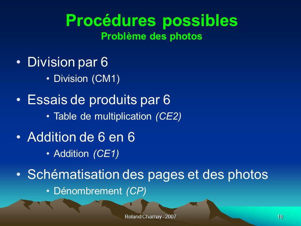 Procédures possibles Problème des photos