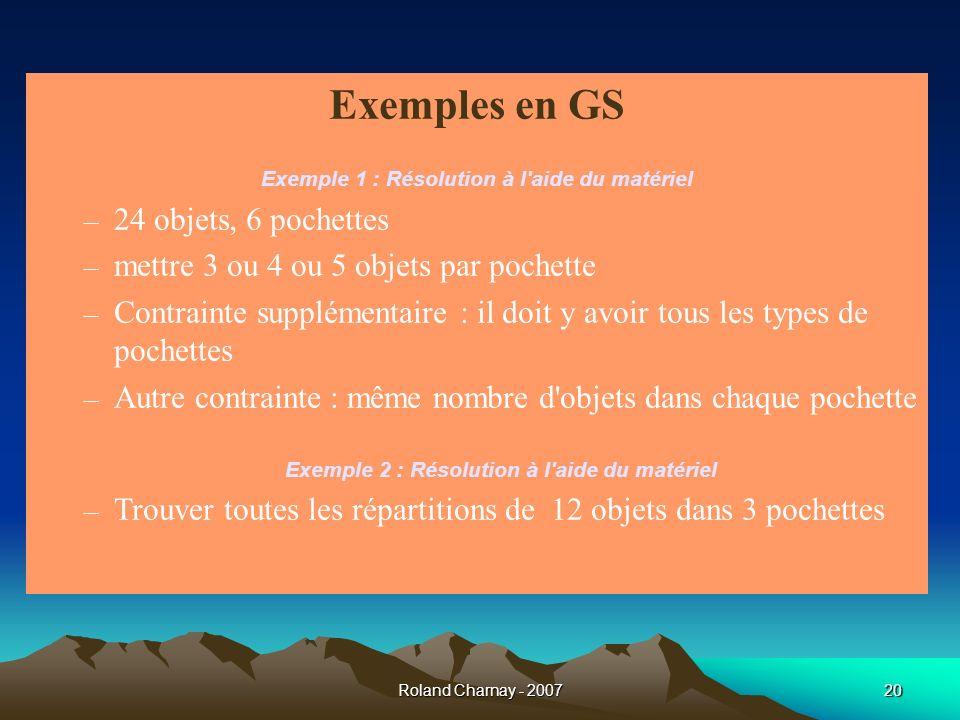 Exemples en GS 24 objets, 6 pochettes