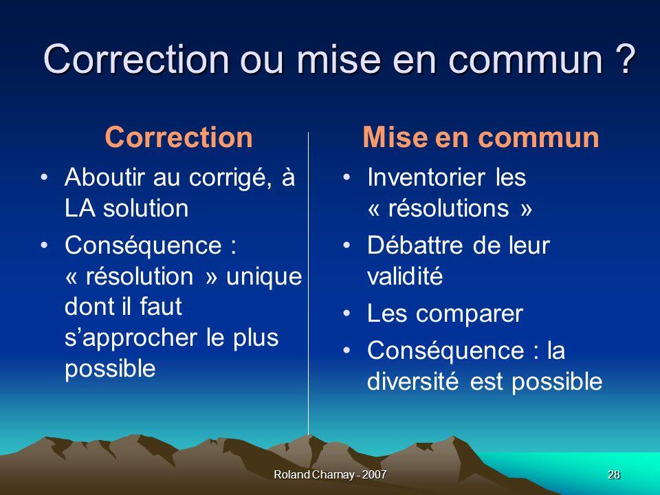 Correction ou mise en commun
