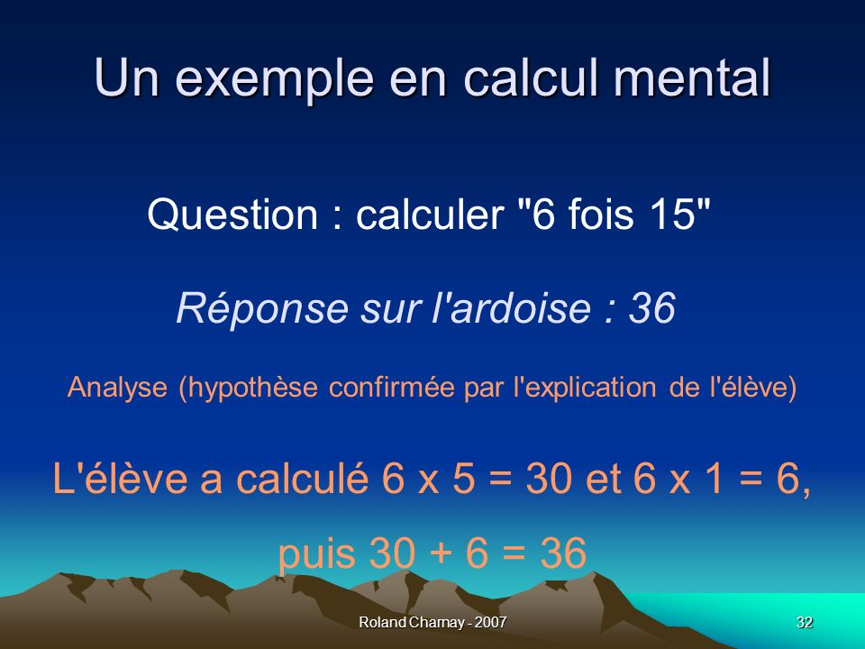 Un exemple en calcul mental