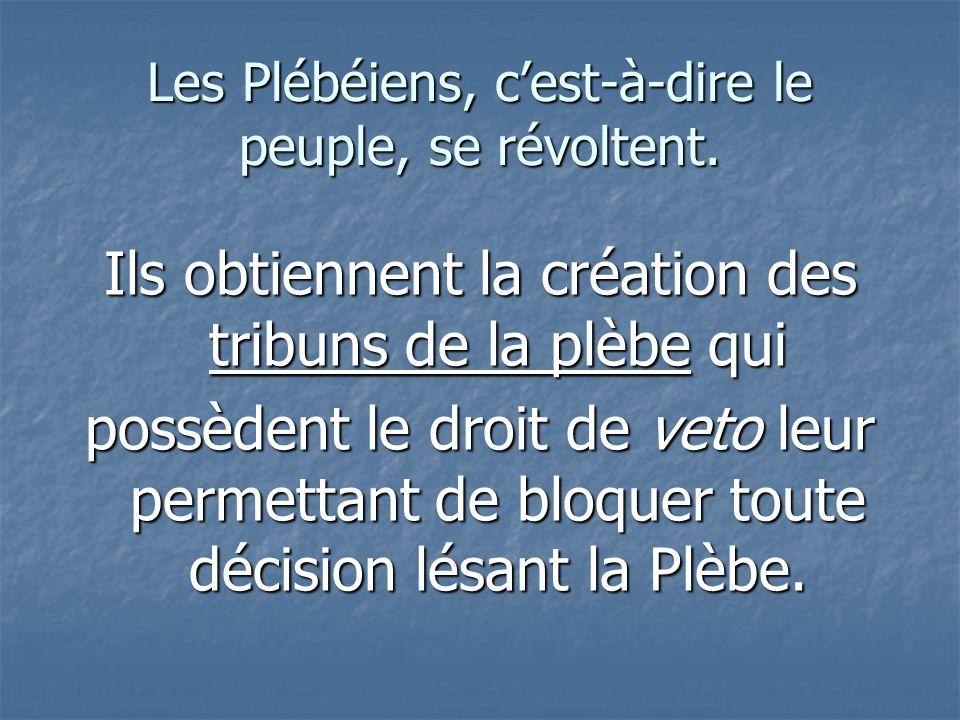 Les Plébéiens, c'est-à-dire le peuple, se révoltent.