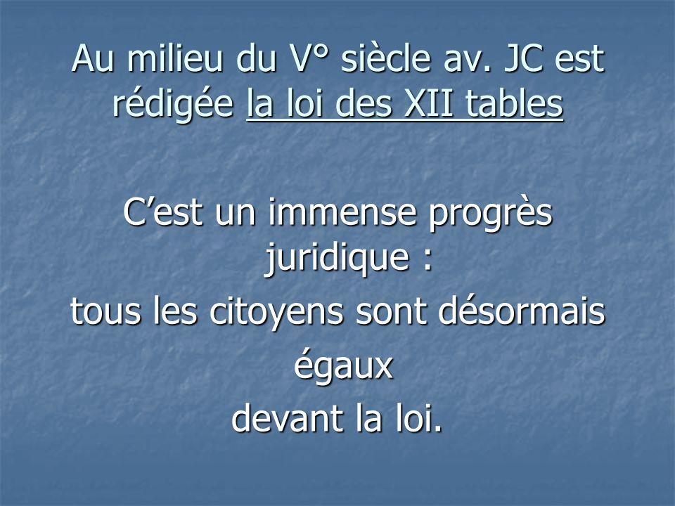 Au milieu du V° siècle av. JC est rédigée la loi des XII tables