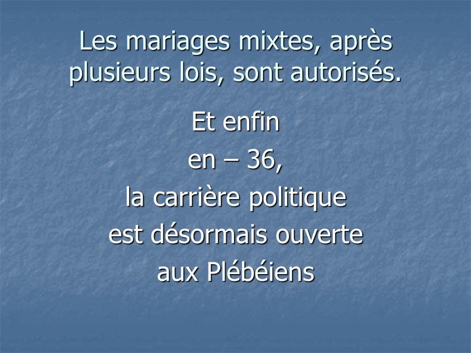 Les mariages mixtes, après plusieurs lois, sont autorisés.
