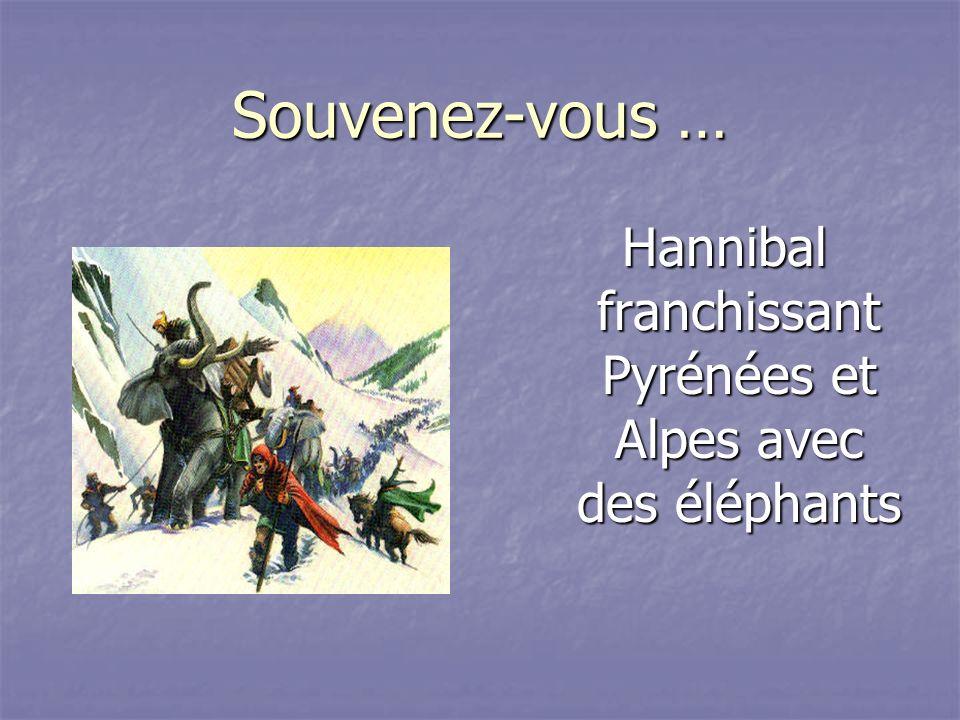 Hannibal franchissant Pyrénées et Alpes avec des éléphants