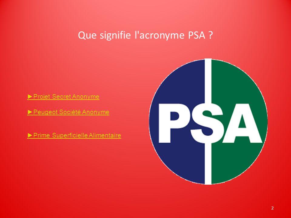 Que signifie l acronyme PSA