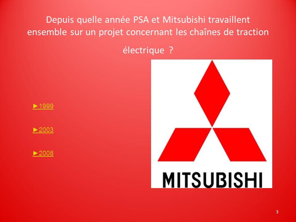 Depuis quelle année PSA et Mitsubishi travaillent ensemble sur un projet concernant les chaînes de traction électrique