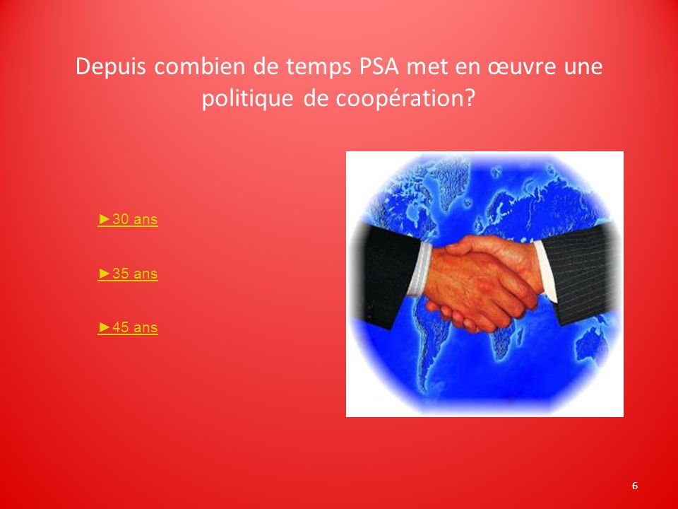 Depuis combien de temps PSA met en œuvre une politique de coopération