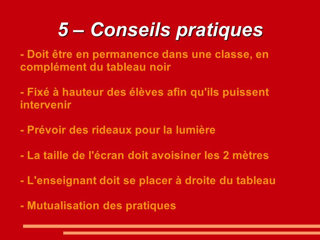 5 – Conseils pratiques - Doit être en permanence dans une classe, en complément du tableau noir.