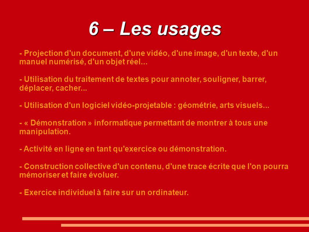 6 – Les usages - Projection d un document, d une vidéo, d une image, d un texte, d un manuel numérisé, d un objet réel...