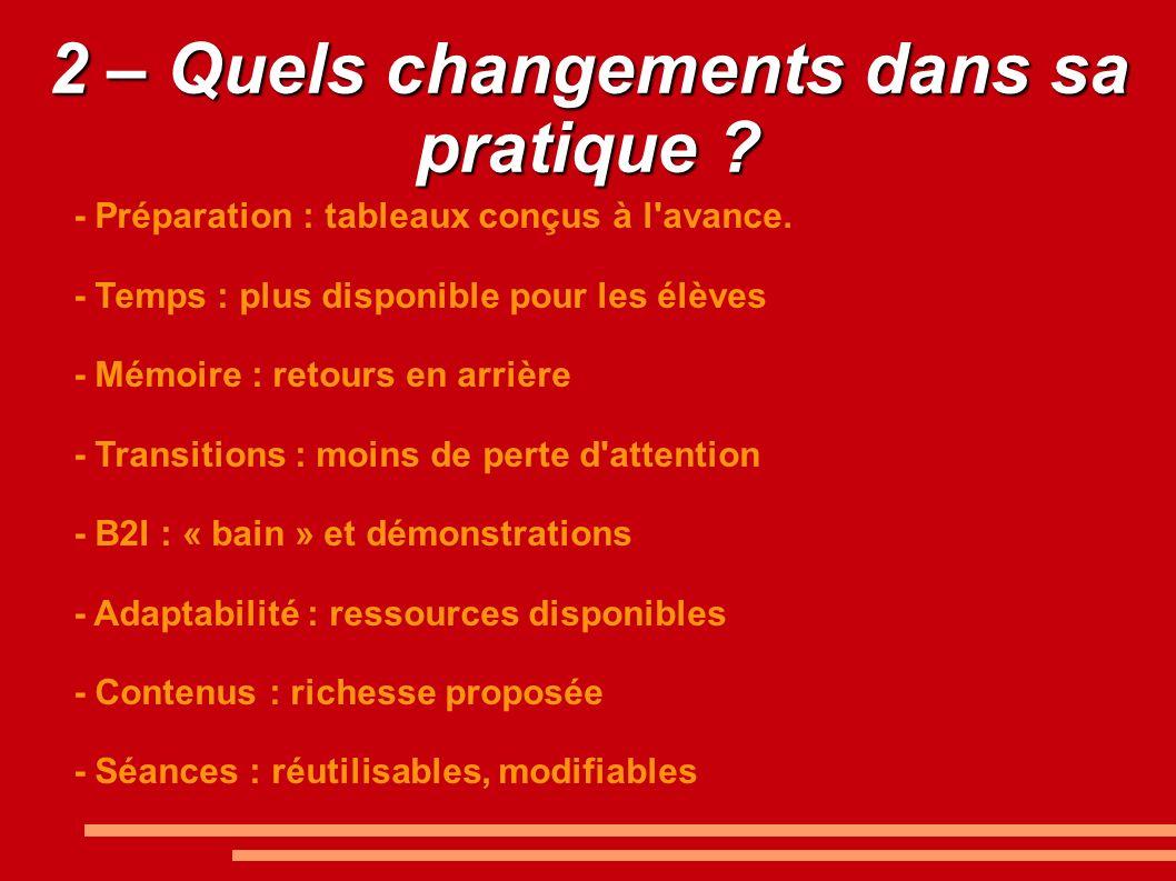 2 – Quels changements dans sa pratique