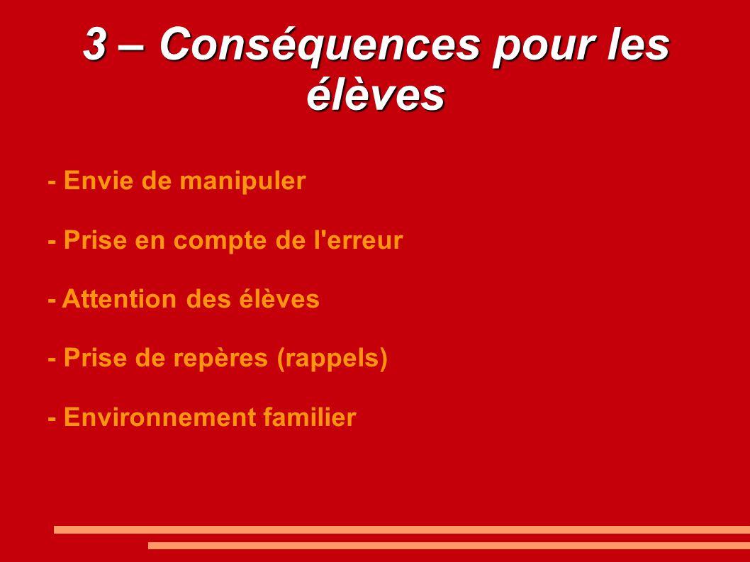 3 – Conséquences pour les élèves