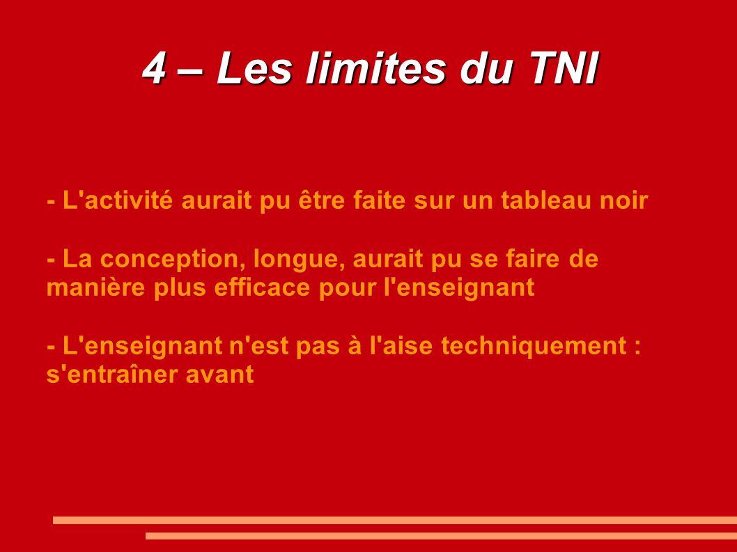 4 – Les limites du TNI - L activité aurait pu être faite sur un tableau noir.