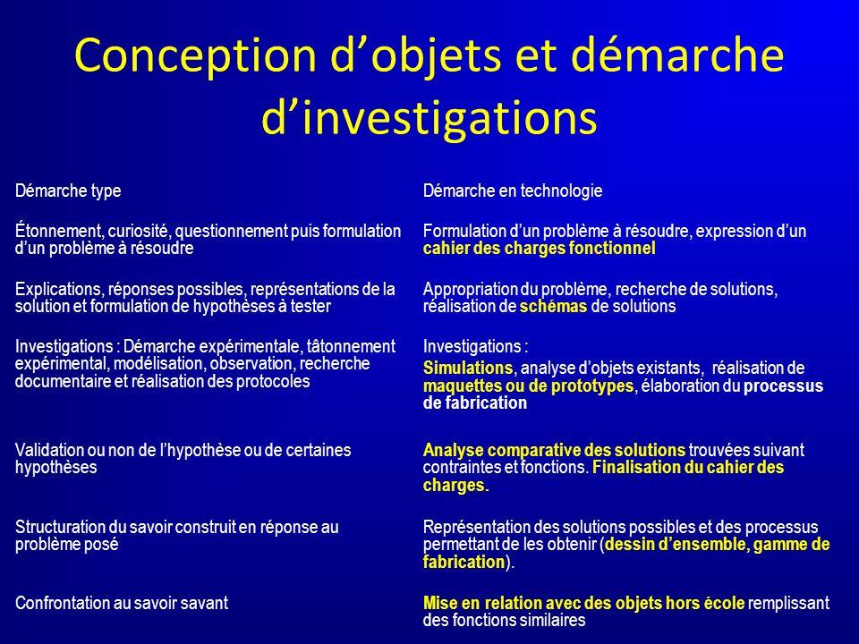 Conception d'objets et démarche d'investigations