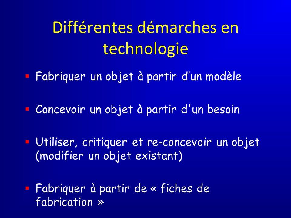 Différentes démarches en technologie