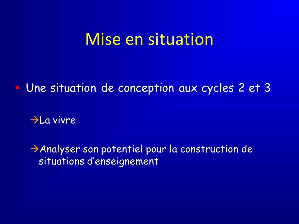 Mise en situation Une situation de conception aux cycles 2 et 3
