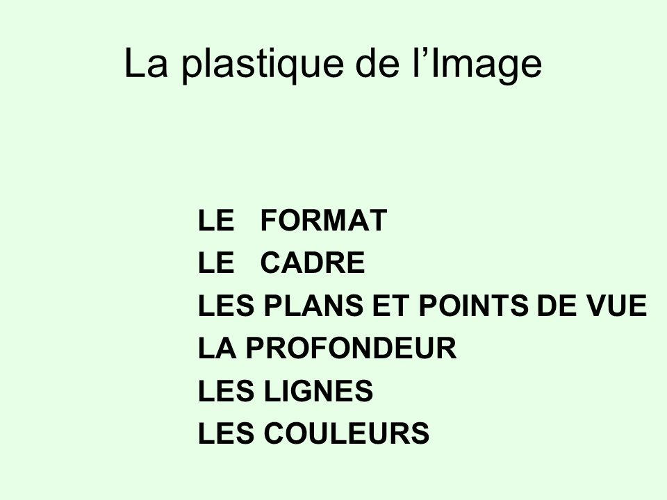 La plastique de l'Image