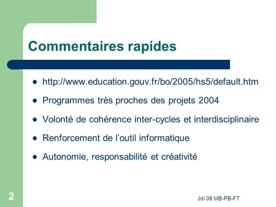 Commentaires rapides http://www.education.gouv.fr/bo/2005/hs5/default.htm. Programmes très proches des projets 2004.