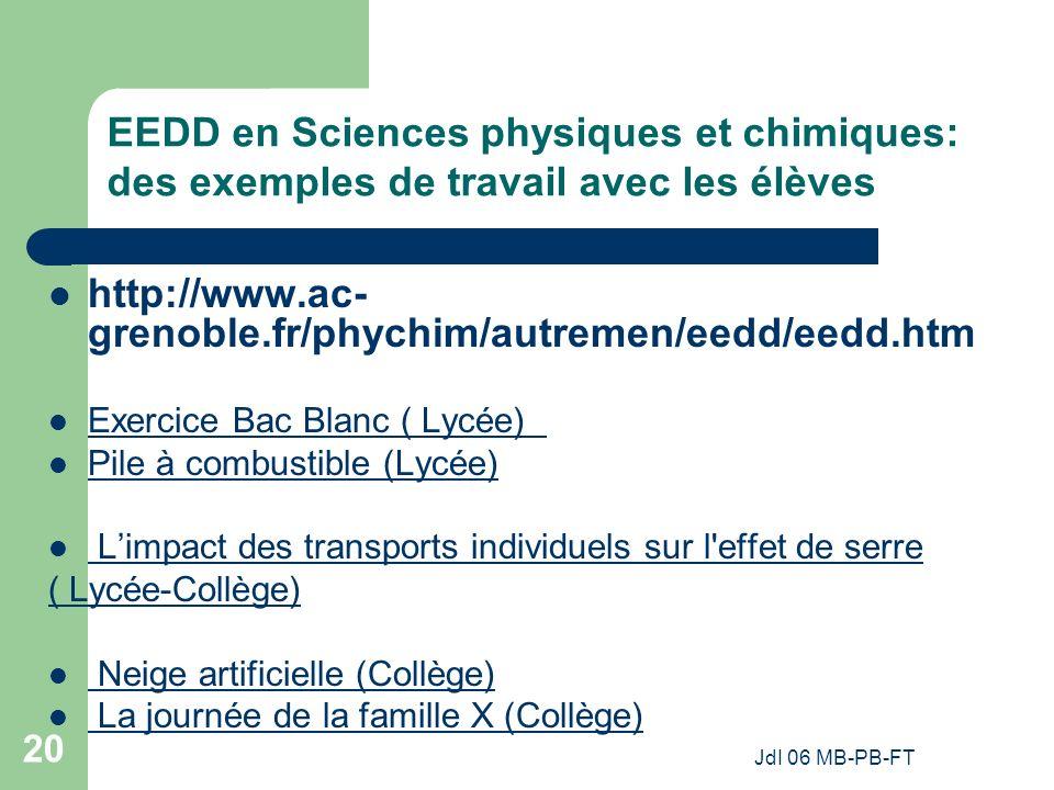 EEDD en Sciences physiques et chimiques: des exemples de travail avec les élèves