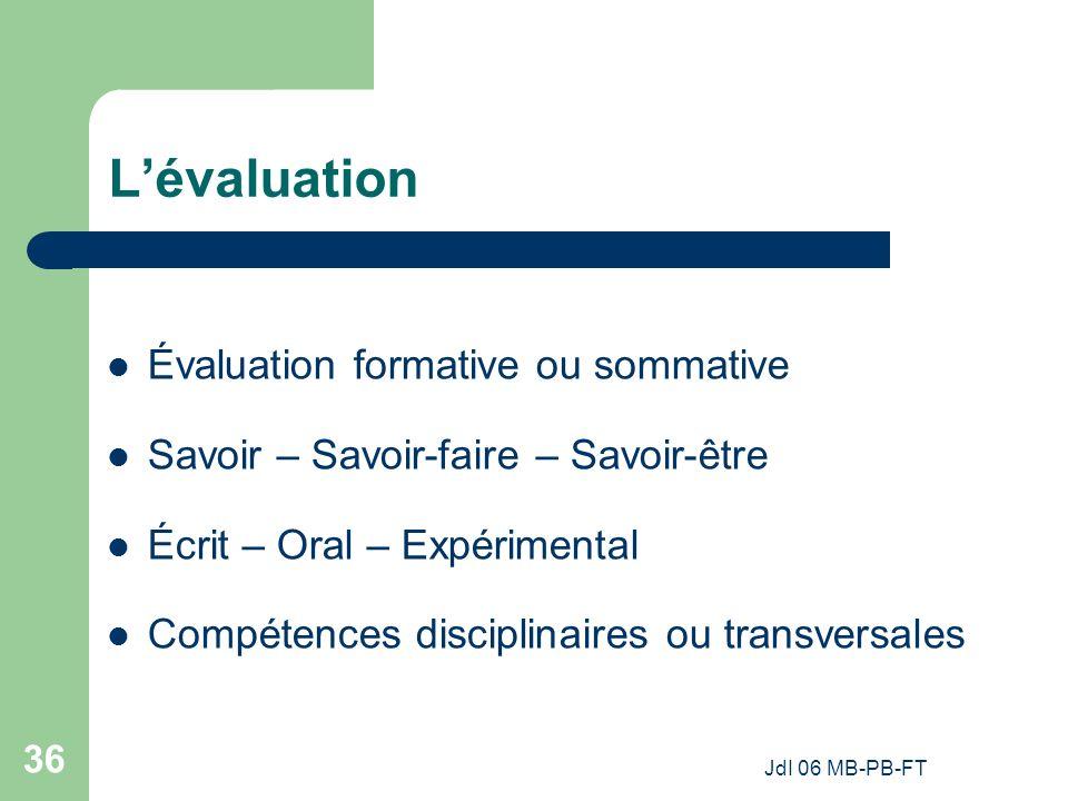 L'évaluation Évaluation formative ou sommative