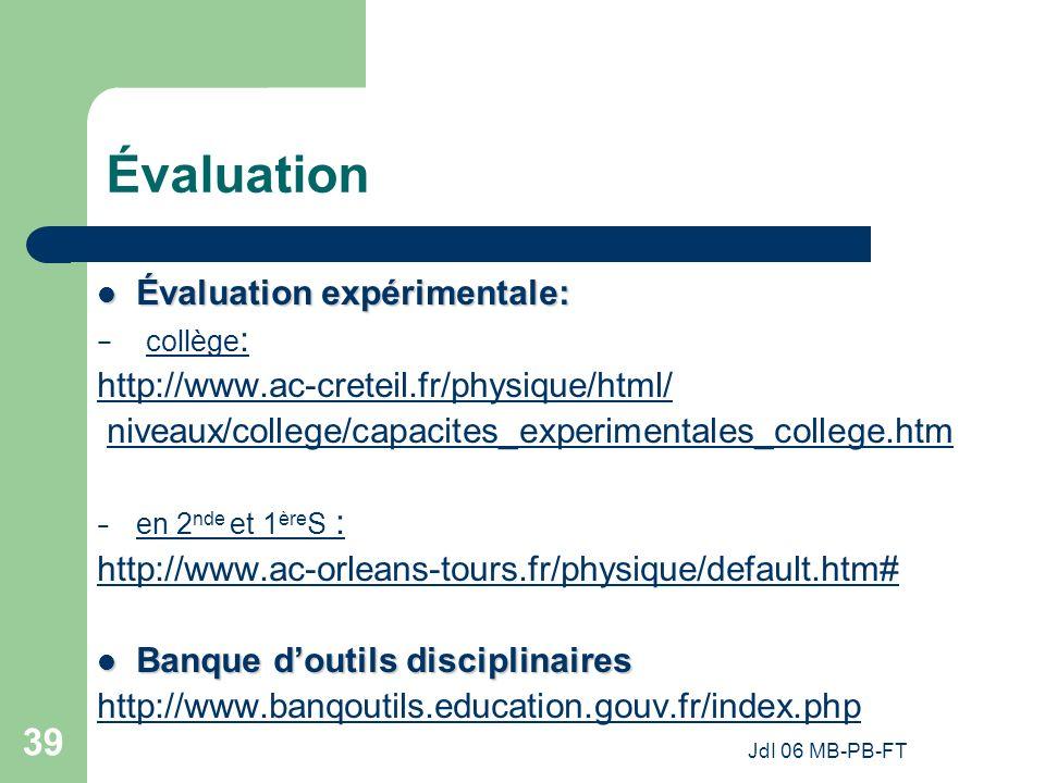 Évaluation Évaluation expérimentale: collège: